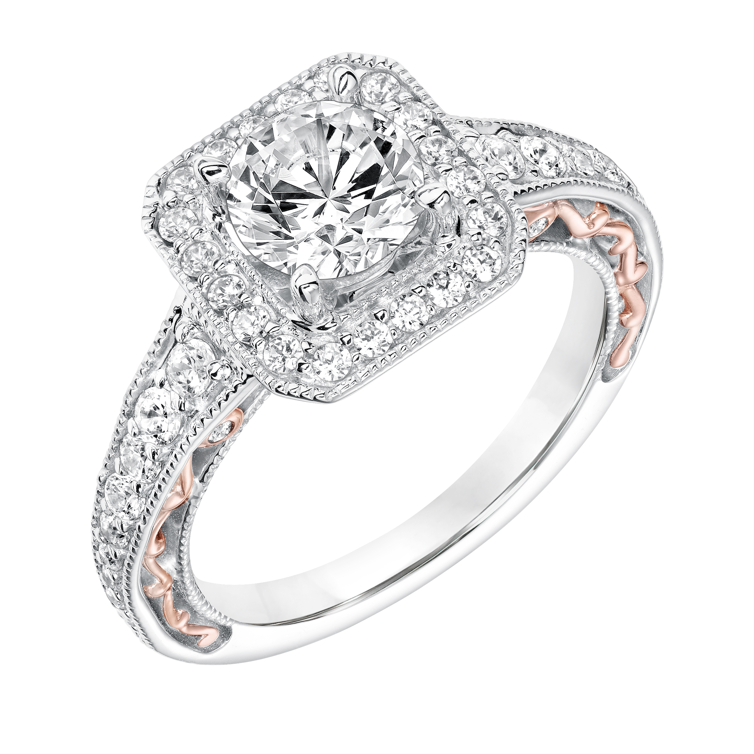 White Gold Square Halo With Rose Gold Side Shank Detail 001 140