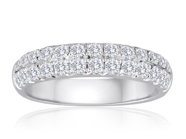 2 Row French Pave Diamond Wedding Band 2/3ctw by Imagine Bridal