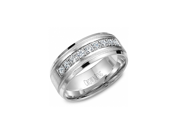 Gents White Gold 8mm Band with 1/2 ctw by Crown Ring