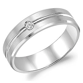 Gents White Gold 6mm Band .05 ctw by Crown Ring