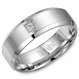 White Gold 7mm Band 1/10 ctw by Crown Ring