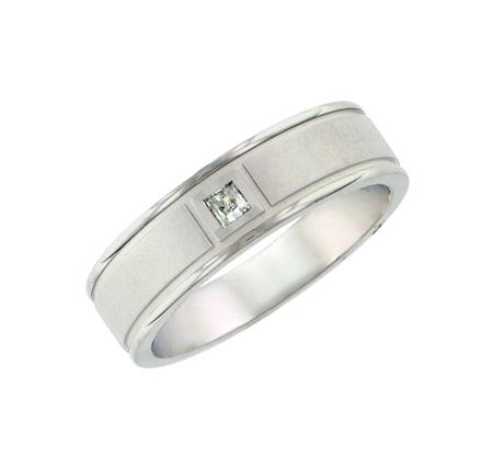 Textured Finish Princess Diamond Band 1/10 ctw by Artcarved Men