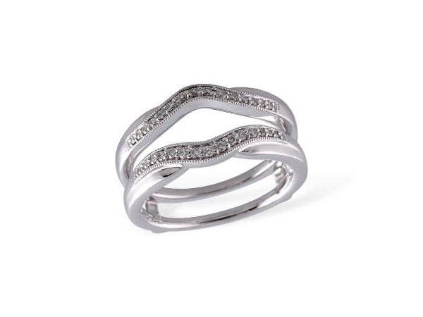 14k White Gold Curved Diamond Ring Guard by Allison Kaufman
