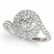 Double Halo Swirl Engagement Ring by Overnight
