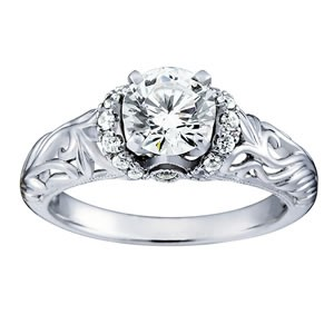 Antique halo white gold engagement ring by Overnight