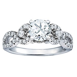 Fancy three stone split shank engagement ring by Overnight