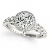 Bezel accent diamonds with halo center ring by Overnight