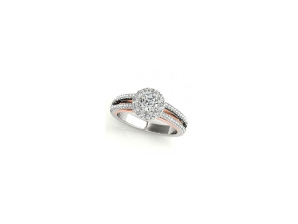 Two tone split shank halo engagement ring by Overnight