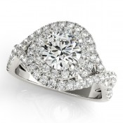Twist diamond engagement ring with double halo center by Overnight