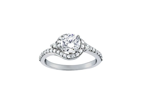 Curve around halo diamond engagement ring by Overnight