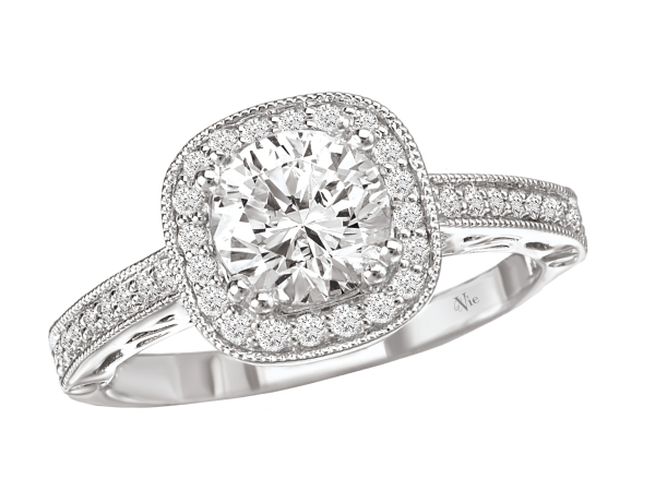 Halo diamond engagement ring by La Vie