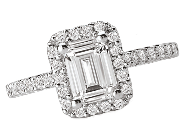 Emerald cut halo engagement ring by La Vie