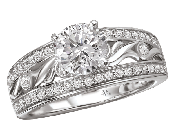 Floral scroll design diamond ring by La Vie