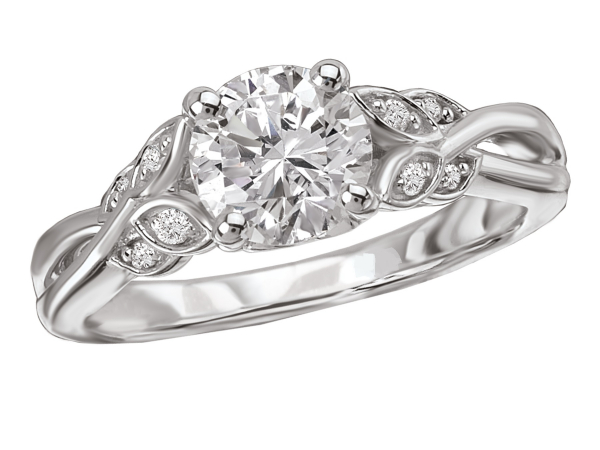 Leaf design shank engagement ring by La Vie