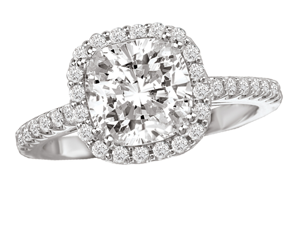 Classic halo engagement ring by Romance Diamond