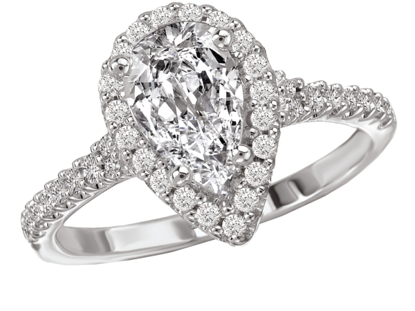 Classic pear shape halo engagement ring by Romance Diamond