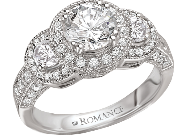 3 diamond halo pave set engagement ring by Romance Diamond
