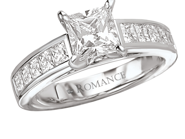 Classic princess cut channel set diamond engagement ring by Romance Diamond