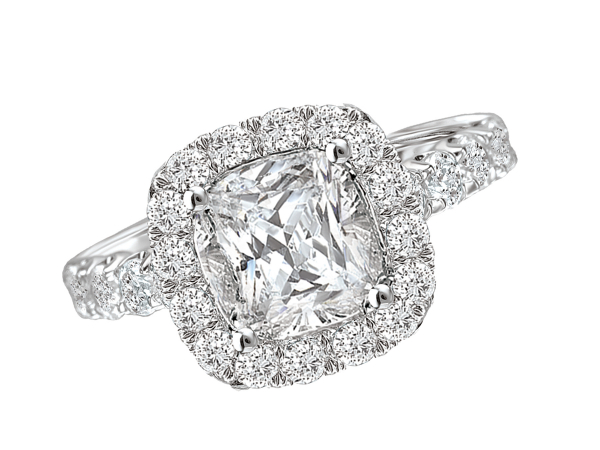 Square halo classic diamond engagement ring by Romance Diamond