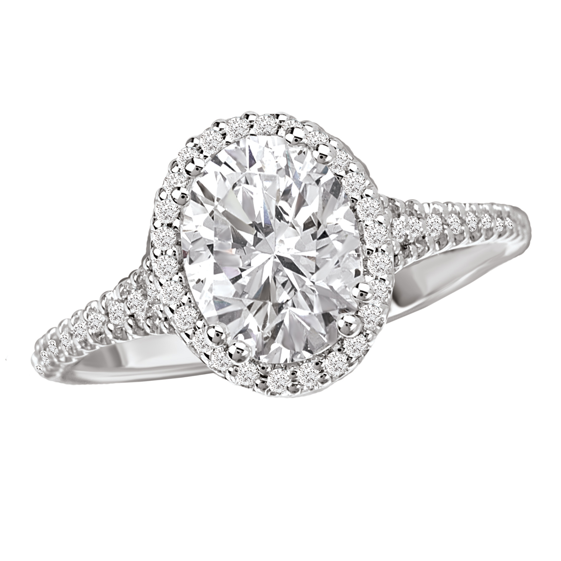Classic oval halo diamond engagement ring by Romance Diamond