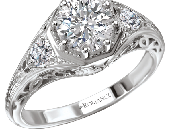 Antique style diamond engagement ring by Romance Diamond