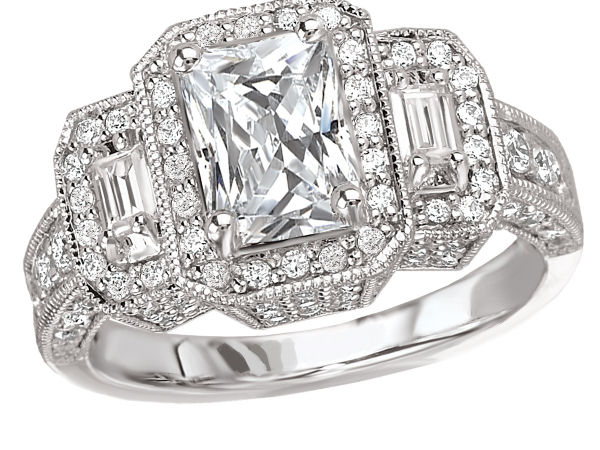 Three diamond halo ring by Romance Diamond