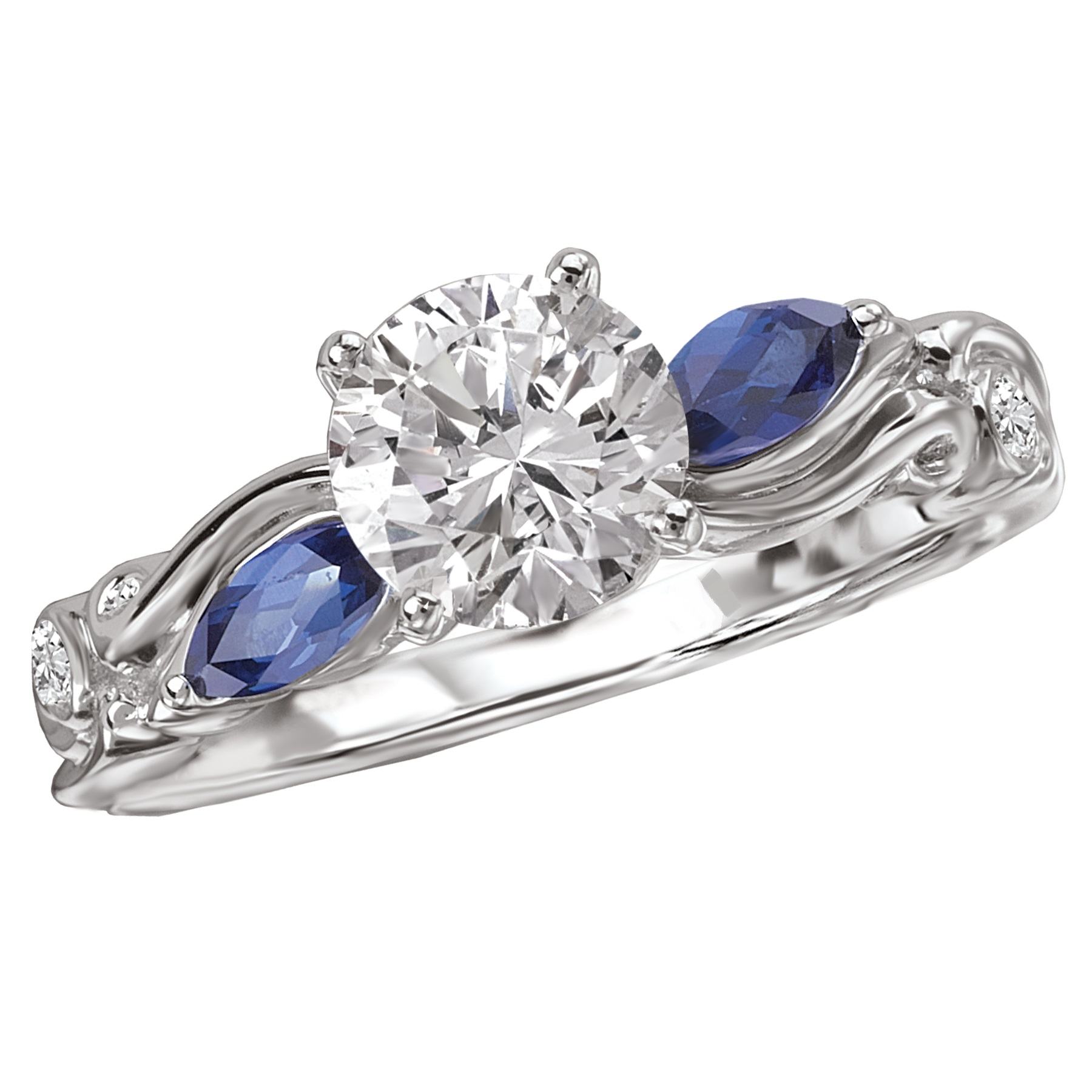 Floral ring with marquis sapphire accents by La Vie