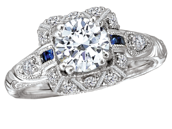 Antique style engagement ring with sapphire accents by Romance Diamond