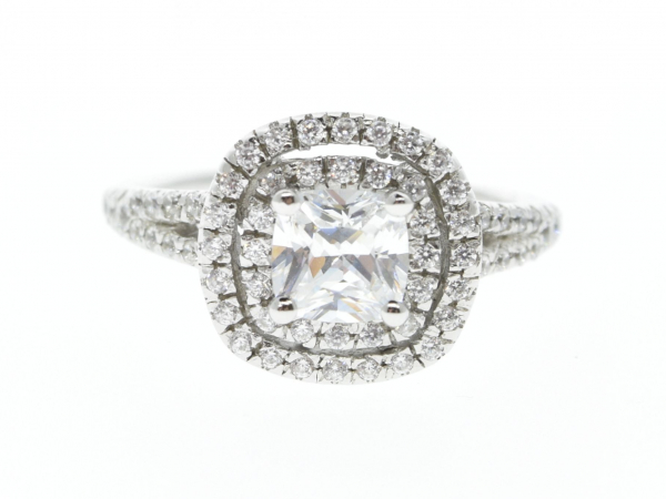 Double halo split shank diamond engagment ring by Unique Settings