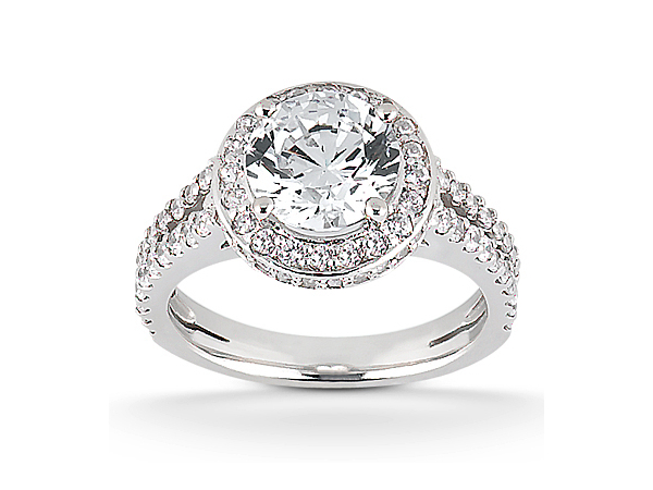 Split shank round halo engagement ring by Unique Settings
