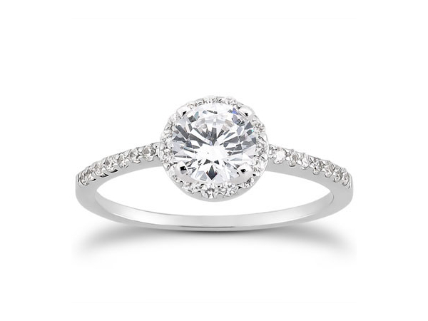 Classic diamond halo engagement ring by Unique Settings