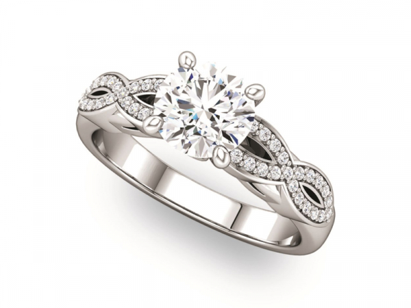 Twisted Shank Diamond Engagement Ring by Ever & Ever