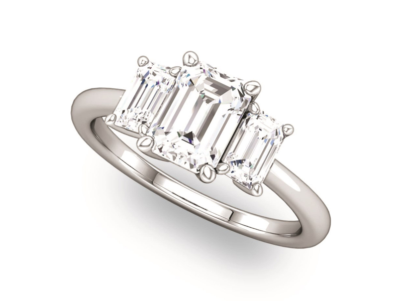 Emerald Cut Three Stone Style Ring by Ever & Ever