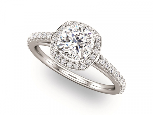 Cushion Center Halo Engagement Ring by Ever & Ever