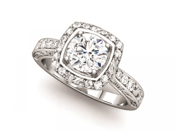 Square Halo Engagement Ring by Ever & Ever