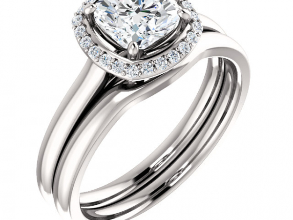 1/10 ctw Petite Halo Diamond Engagement Ring by Ever & Ever