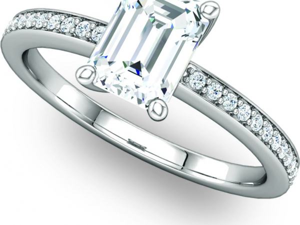 Emerald Center Diamond Engagement Ring by Ever & Ever