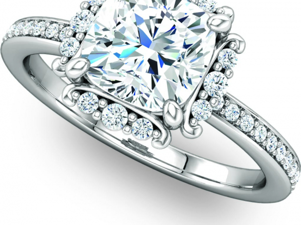 White Gold Square Center Accented Engagement Ring by Ever & Ever