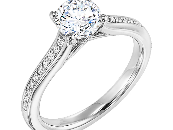 Trellis Crown with Peek-a-Boo Diamond Engagement Ring by Frederick Goldman