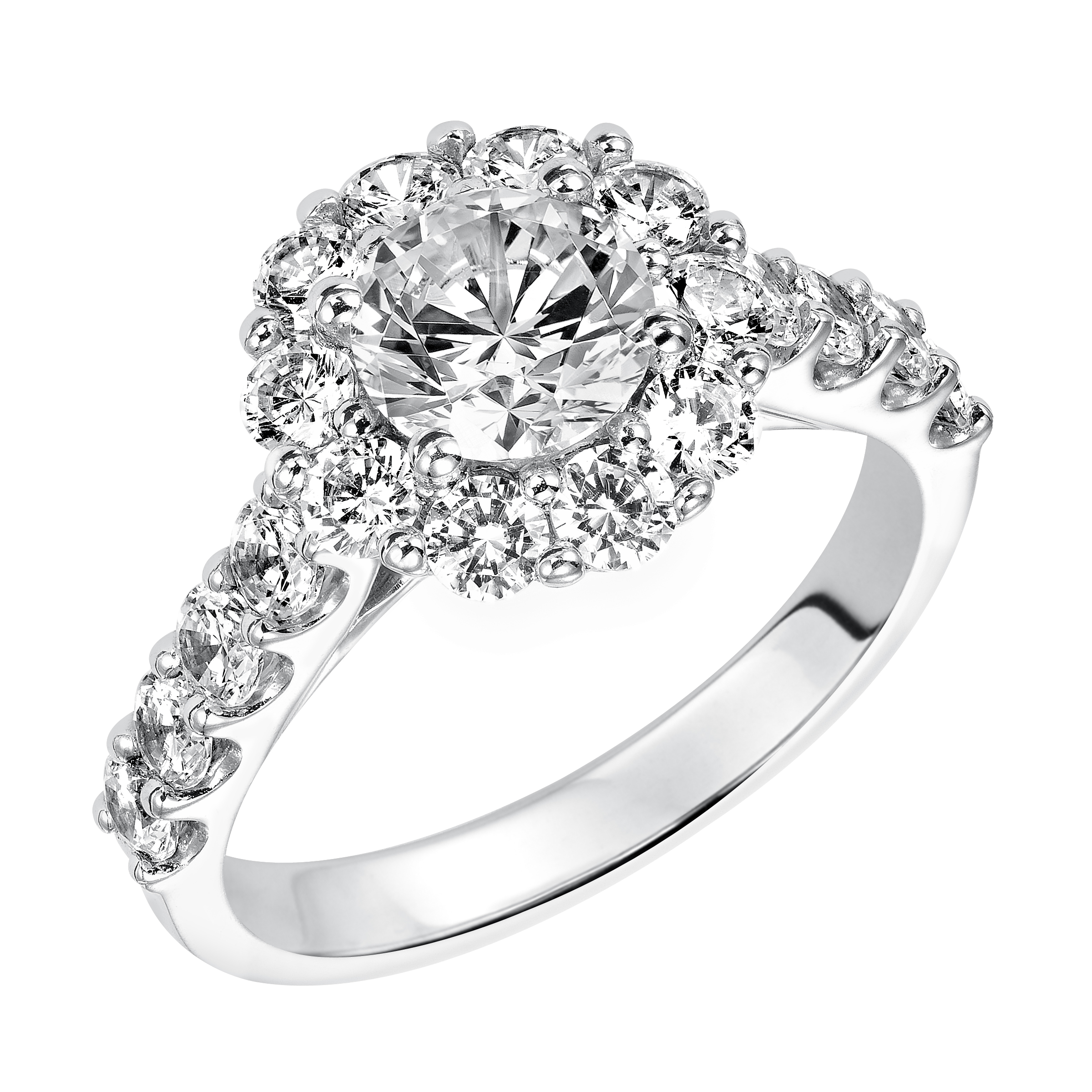 Halo Engagement Ring White Gold by Frederick Goldman