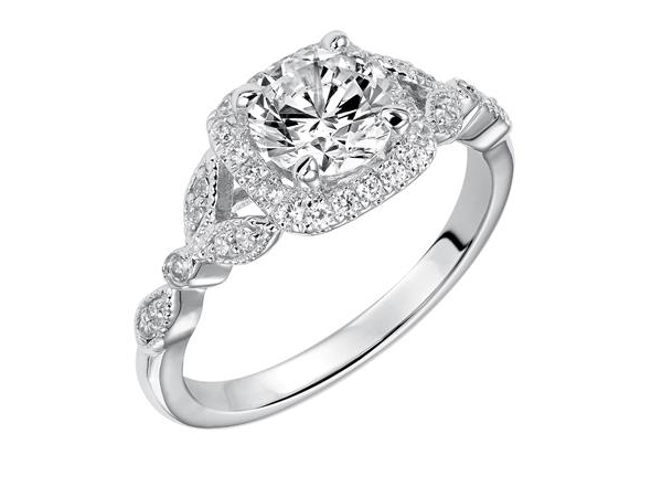 Square Halo with Fancy Shank Engagement Ring by Frederick Goldman
