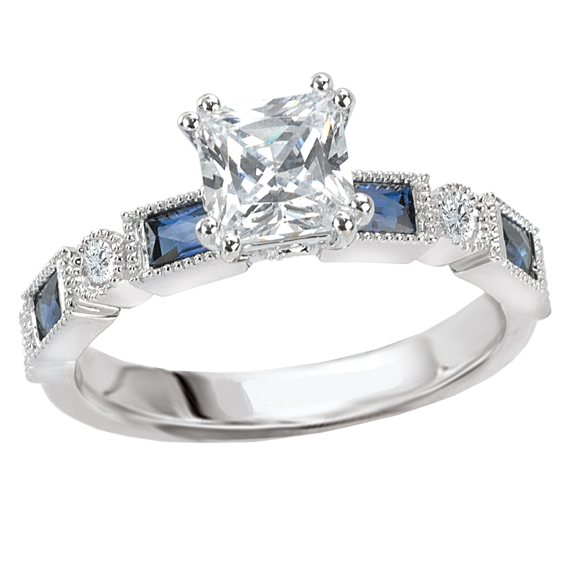 18K WG Diamond and Sapphire Engagement Ring by Romance Diamond