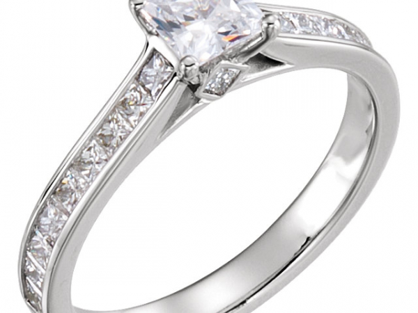 14kt White Gold Engagement Ring with Channel Set Sides and Peek-a-Boo Diamond by Stuller