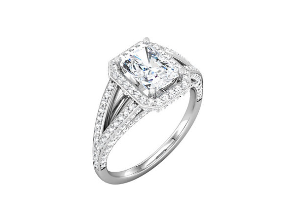 Rectangle center halo split shank diamond engagement ring by Stuller