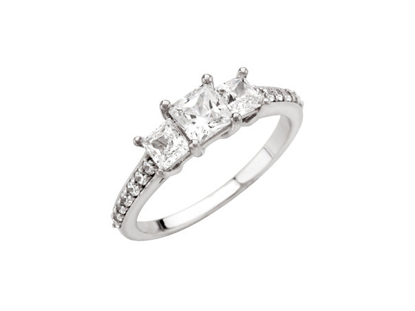 Three diamond princess cut engagement ring by Stuller