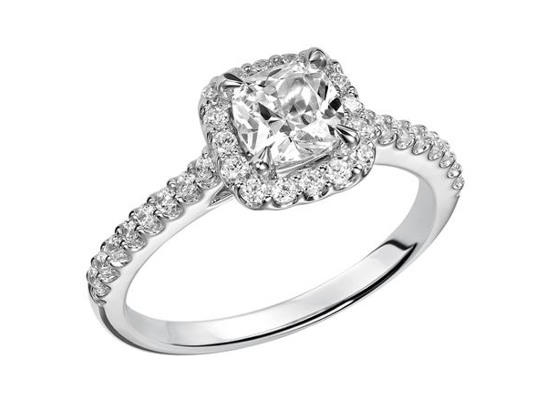 Classic prong set halo diamond engagement ring by Frederick Goldman