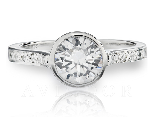 Bezel center diamond engagement ring by Avigdor
