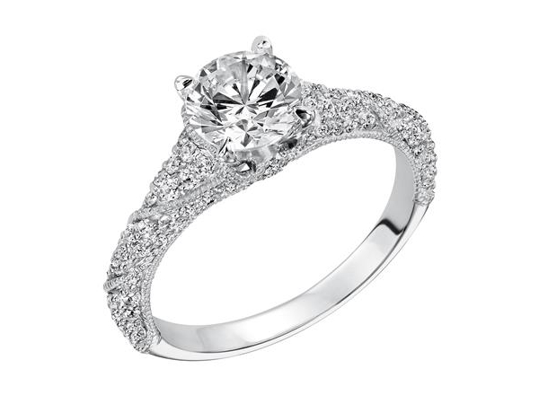 Pave set diamond engagement ring by Frederick Goldman