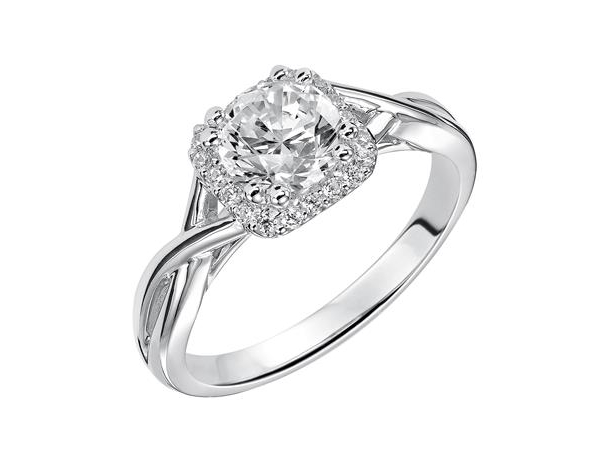 Diamond halo engagement ring with high polish twist shank by Frederick Goldman