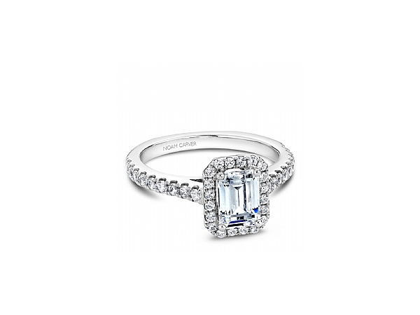 1/2 ctw Emerald Cut Halo Engagement Ring by Noam Carver